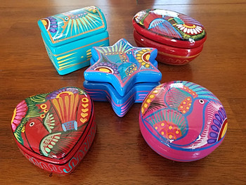 Bulk Mexican Hand Painted Clay Jewelry Boxes