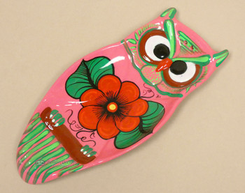 Hand Painted Pottery Owl Spoon Rest