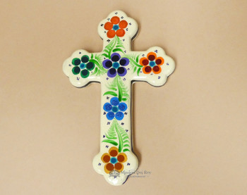 Hand Painted Mexican Clay Wall Cross