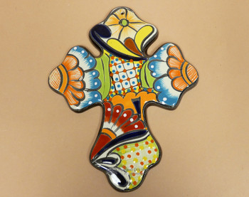 "Hand Painted Talavera Wall Cross 13.5"""