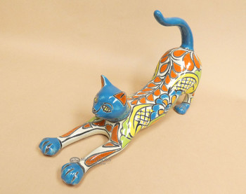 Southwestern Talavera Stretching Cat