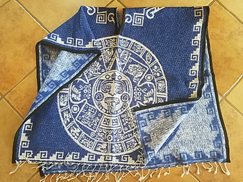 Mexican Blanket Poncho Mayan Calendar