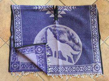 Mexican Style Wolf Blanket Poncho -Purple