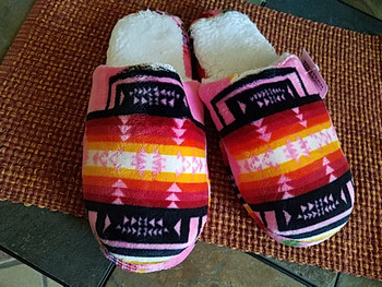 Southwestern Plush Slippers -Pink
