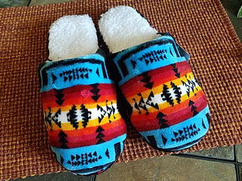 Southwestern Plush Slippers -Turquoise & Black