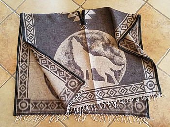 Mexican Style Wolf Blanket Poncho - Brown & Tan