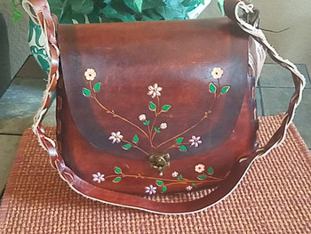 Tooled Cowhide Hippie Purse