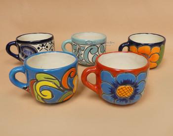Assorted Rounded Hand Painted Talavara Mugs