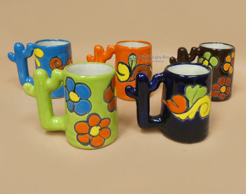 Cactus Handle Hand Painted Talavera Mugs