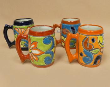 Assorted Hand Painted Barrel Shaped Talavera Mugs