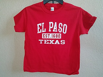 Premium Kids Size El Paso T Shirt -Red