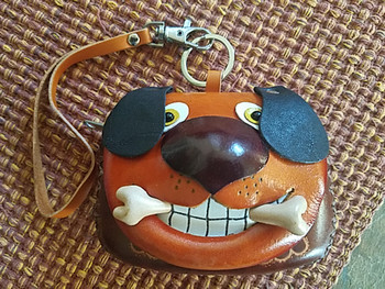Leather Coin Purse -Toothy Dog