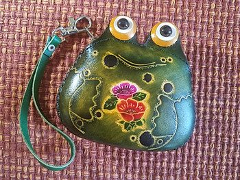 Zippered Tooled Leather Coin Purse
