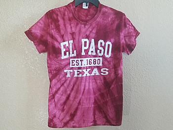 El Paso Tie Dye T Shirt -Burgundy