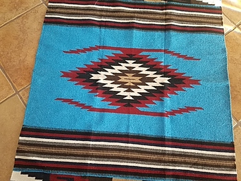 Turquoise Blue Area Rug or Wall Hanging