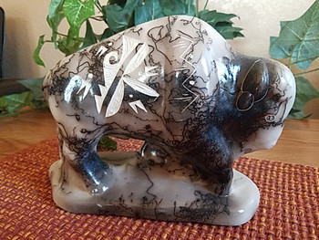 Native American Horse Hair Pottery -Buffalo