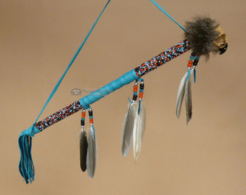 Creek Indian Hawk Skull Medicine Stick