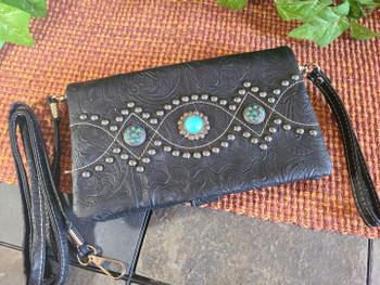 Western Concho Tooled Wallet Handbag