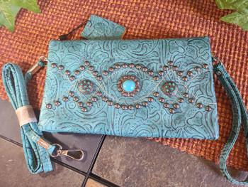 Southwestern Concho Tooled Wallet Handbag