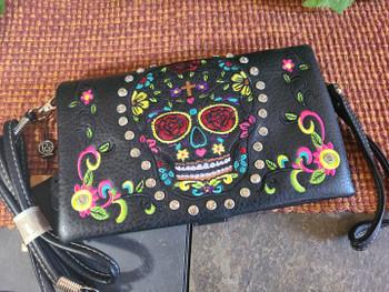 Sugar Skull Wallet Handbag -Black