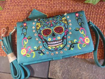Sugar Skull Wallet Handbag -Turquoise