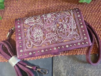 Stitched Floral Wallet Handbag -Purple