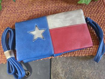 Stitched Wallet Handbag -Texas Flag