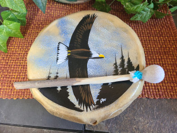 "Hand Painted Frame Drum 10"" -Eagle"