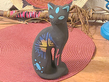 Handcrafted clay sand painted pottery cat