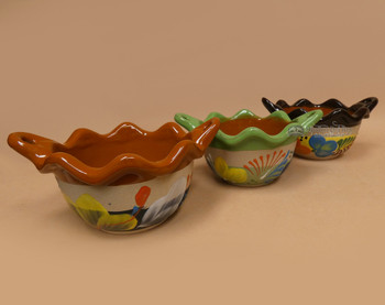 Assorted Hand Painted Clay Bowls w/ Handles