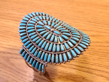 Southwest Navajo Silver & Turquoise Needle Point Cuff Bracelet