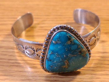 Southwest Navajo Silver & Turquoise Cuff Bracelet