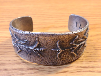Southwest Navajo Silver Tufa Stone Cuff Bracelet
