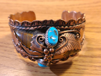 Navajo Indian Copper & Turquoise Cuff Bracelet