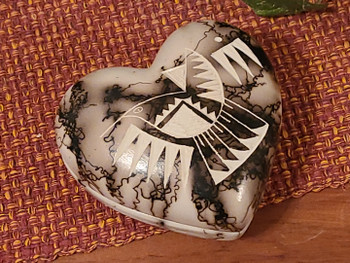 Native American Horse Hair Pottery Jewelry Box -Heart