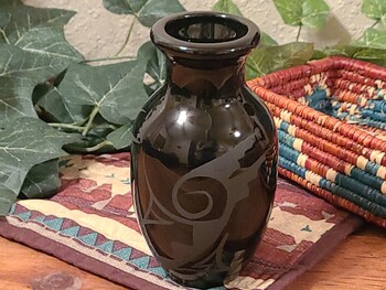 Native American Navajo Vase -Black on Black