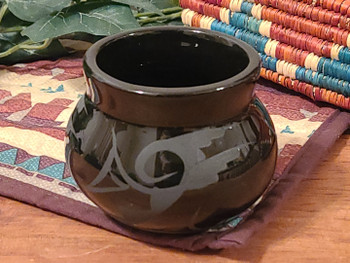 Native American Navajo Bowl Vase -Black on Black