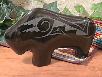 Large Navajo Pottery Buffalo -Black on Black