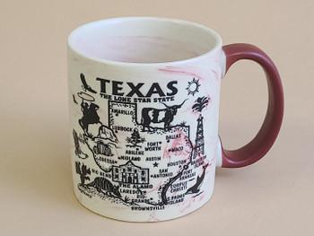 Texas Map Swirl Mug 16oz. -Red
