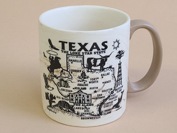 Texas Map Swirl Mug 16oz. -Tan