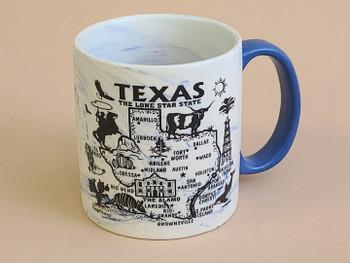 Texas Map Swirl Mug 16oz. -Blue