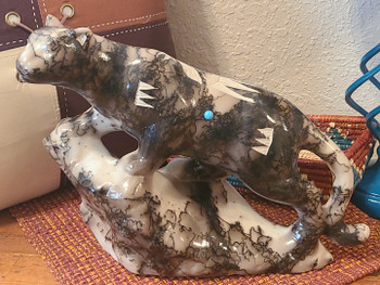 Navajo Horse Hair Pottery Sculpture -Cougar
