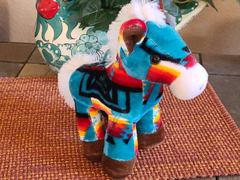 Western Stuffed Horse -Teal