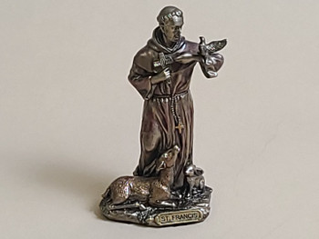 Rustic Bronze Metal Art Statue -St Francis