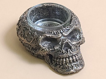 Bronze Metal Art Candle Holder -Skull