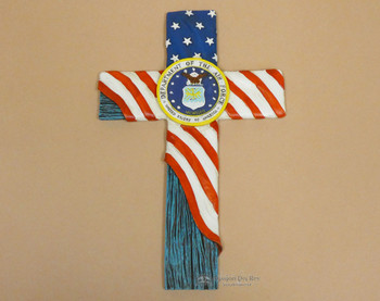 Rustic Airforce & USA Flag Cross