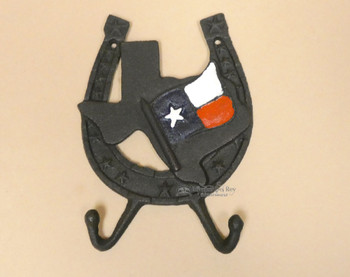 Cast Iron Metal Horseshoe & Texas State Wall Hook