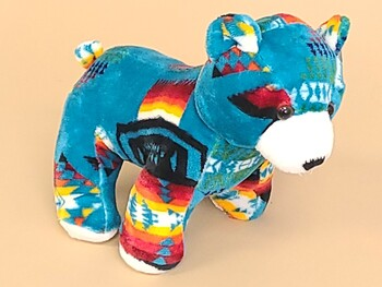 Southwest Plush Stuffed Animal -Teal Bear