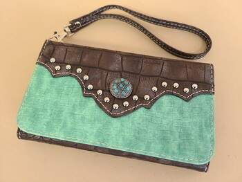Southwestern Faux Crocodile Leather Phone Case Wallet