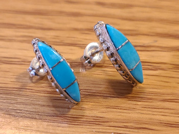 Zuni Native American Silver & Inlaid Turquoise Earrings